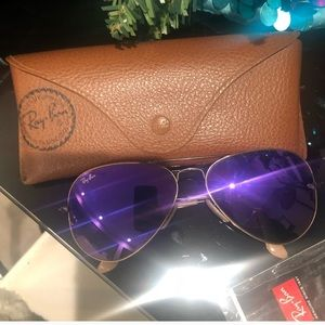 Ray ban purple sunglasses with brown case